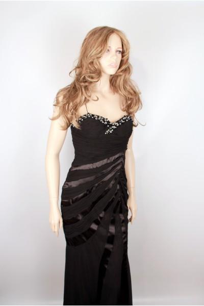 Длинное черное вечернее платье Regina