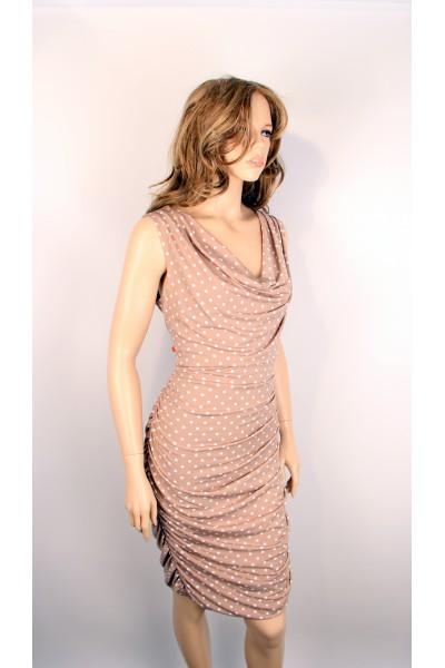 Бежевое коктейльное платье COMMA в горох