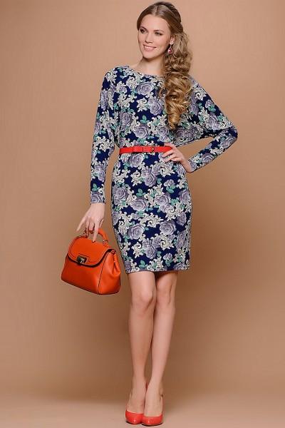 Синее платье Stets с цветочным принтом