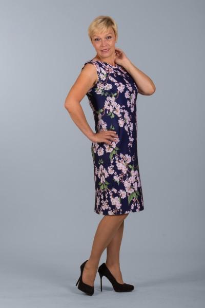 Синее платье Настаси с цветами сакуры