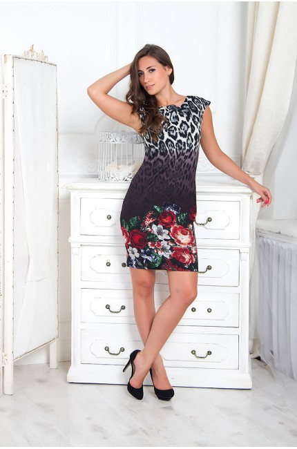 Леопардовое платье Валентина с цветочным принтом