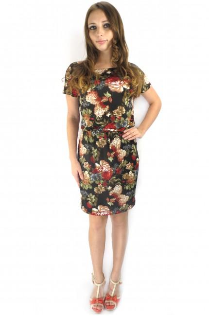 Черное летнее платье FAQ FASHION с цветочным принтом