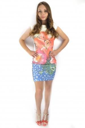 Короткое белое летнее платье tops&tops с цветочным принтом