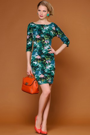 Изумрудное цветочное платье Stets
