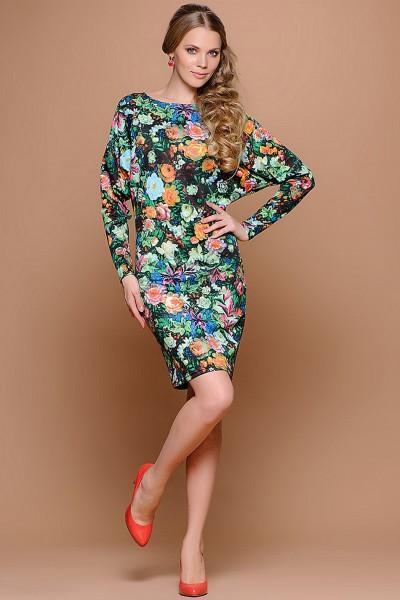Зеленое цветочное платье Stets в стиле Летучая мышь