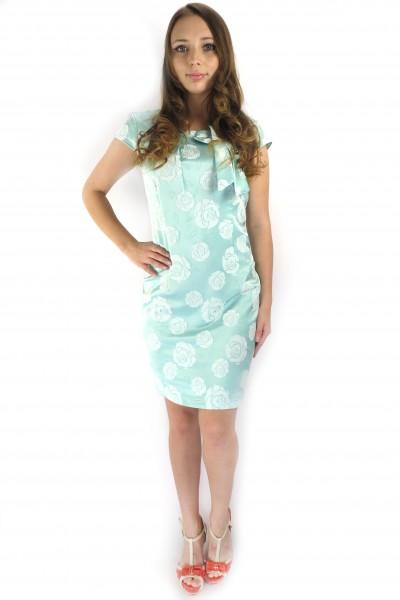 Зеленое платье topcapy из шелка с белым принтом розы