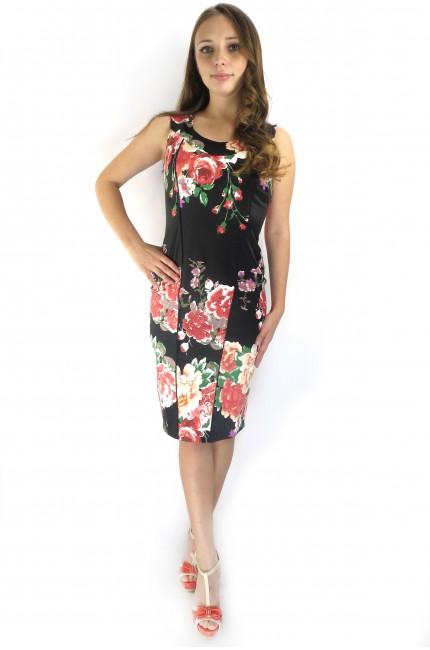 Черное платье Настаси с ярким цветным принтом