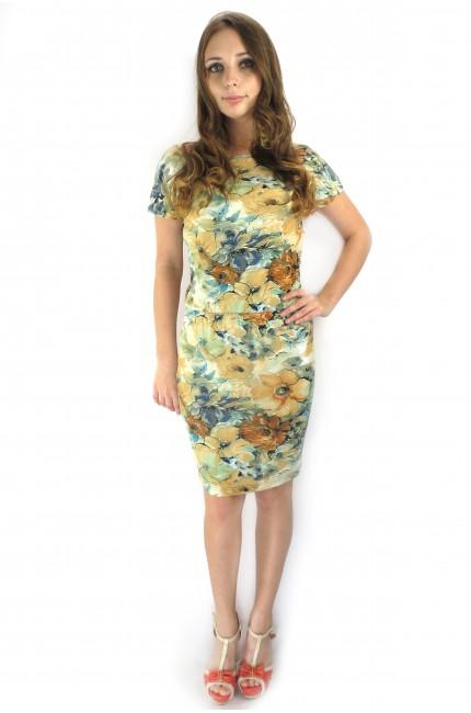 Светлое летнее платье FAQ FASHION с резинкой на талии