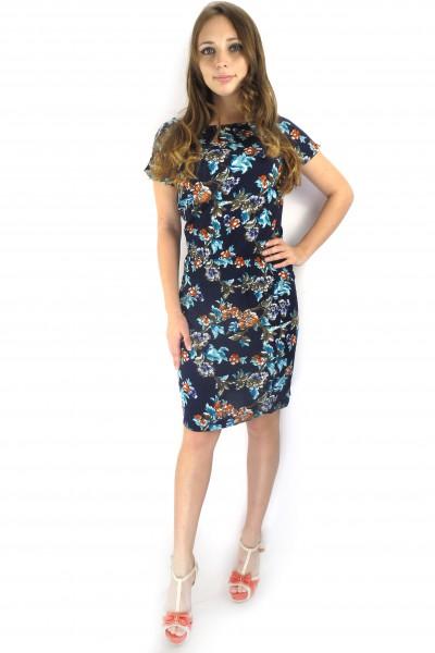Темно-синее платье FAQ FASHION с ярким цветочным принтом