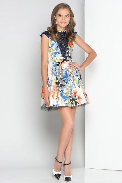 Яркое летнее платье FRENCH HINT с кружевными вставками
