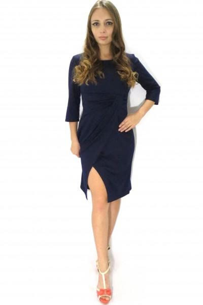 Офисное темное платье Настаси цвета черники
