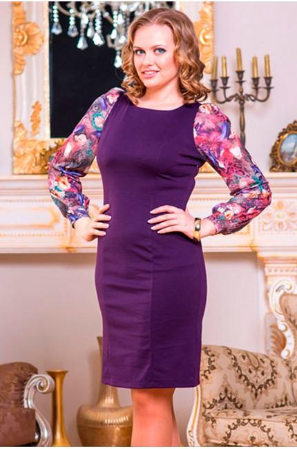 Фиолетовое платье Angela Ricci с узорчатыми рукавами