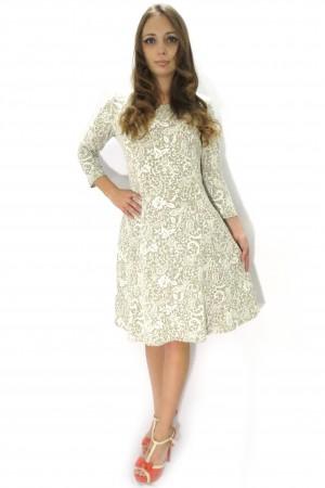 Серое платье Настаси с белым кружевным рисунком