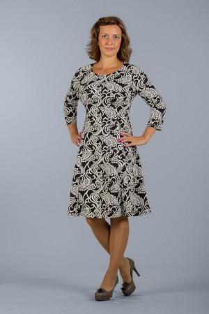 Черное платье Настаси с белым узором