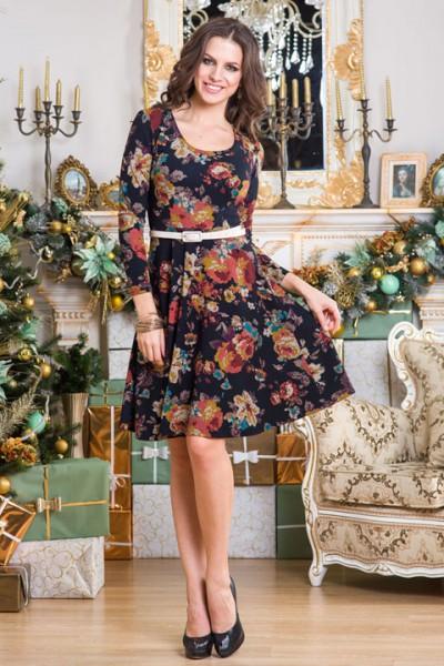 Темное платье Angela Ricci с цветочным принтом в стиле мозайки