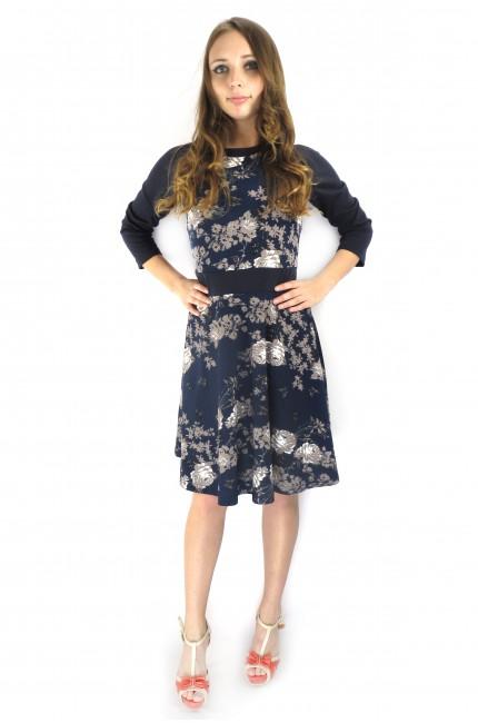 Темно-синее платье Валентина с бело-коричневым принтом