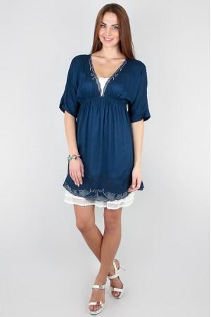 Синее свободное платье ICHI на лето
