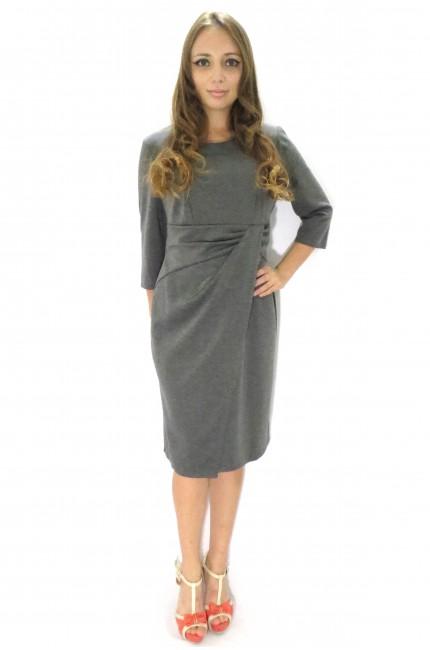 Серое классическое офисное платье Настаси