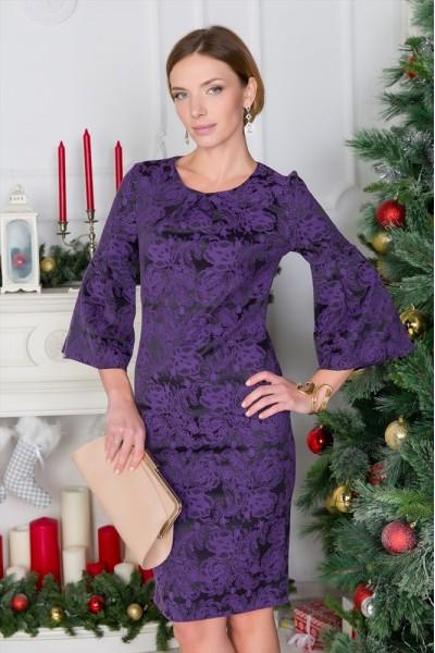 Черное платье Валентина из жаккарда с фиолетовым узором