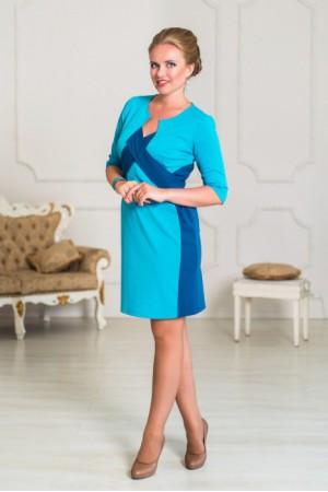Небесно-голубое платье Angela Ricci для офиса