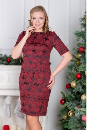 Черное платье Валентина из жаккарда в красный узор