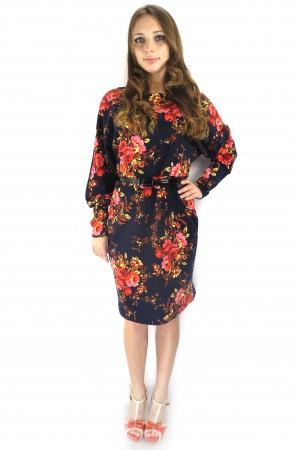 Темное синее платье Валентина с цветочным принтом