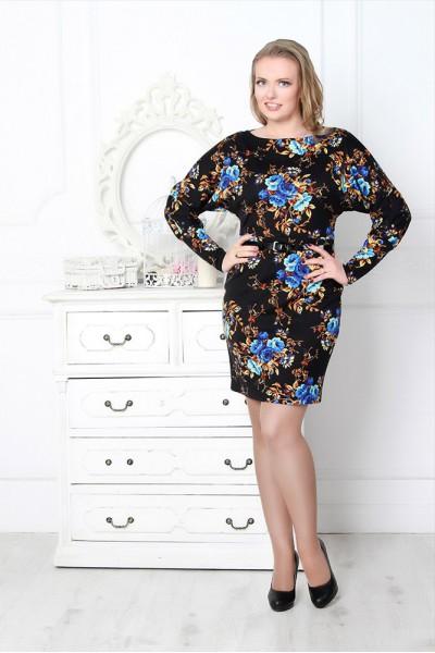Черное платье Валентина летучая мышь с синими цветами