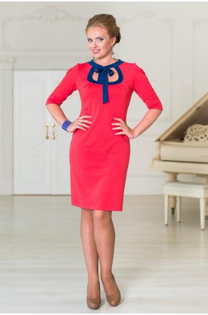 Красное платье Angela Ricci с синим воротником и бантом
