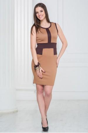 Светло-коричневое офисное платье Angela Ricci