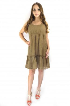 Летнее кэжуал платье VILA коричневого цвета