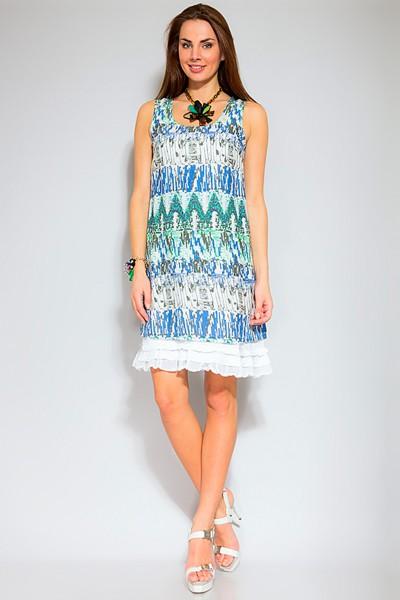 Сине-бело-зеленое платье kaffe на лето