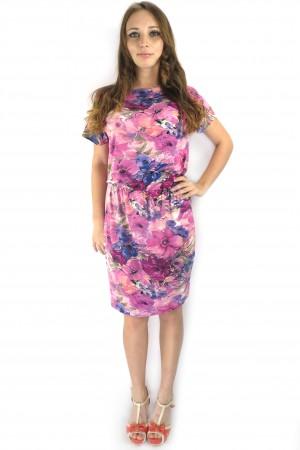 Розовое платье FAQ FASHION с цветочным принтом