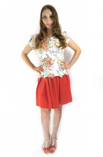 Белое платье tops&tops с цветочным принтом и красной юбкой