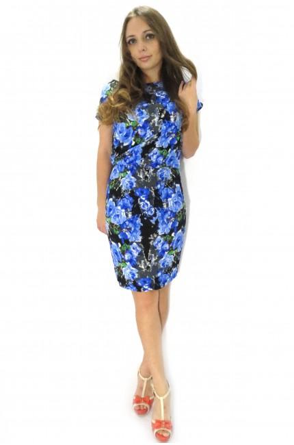 Хлопковое платье FAQ FASHION с голубым цветочным принтом