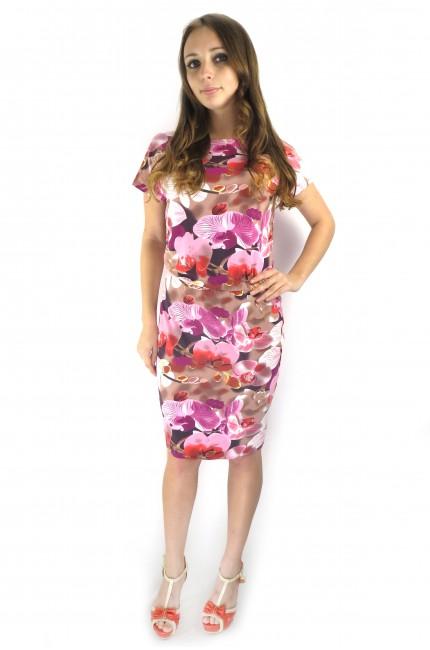 Розовое платье FAQ FASHION с оттенками летних цветов