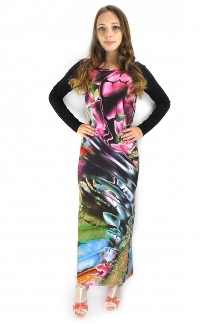 Длинное черное платье Mary Mea с цветочным принтом
