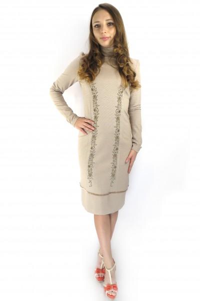 Шоколадное платье Pelican с высоким воротником