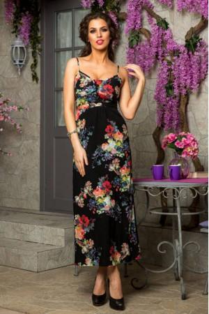 Длинный черный сарафан Angela Ricci с цветами