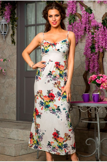 Белый длинный сарафан Angela Ricci с цветочным принтом