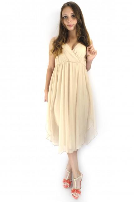 Светлое коктейльное платье ICHI из полиэстера