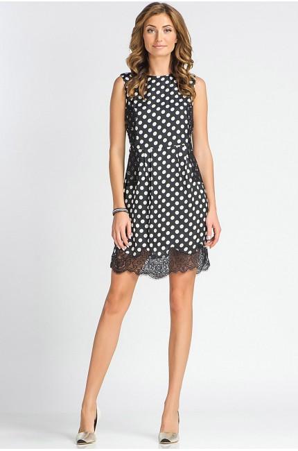 Черное платье tops&tops в белый горошек