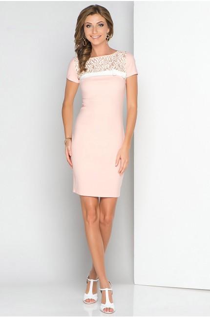Нежно-розовое платье tops&tops с кружевным верхом