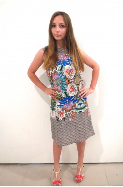 Серое цветочное платье Pompa на лето