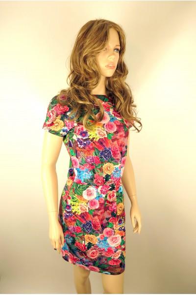 Яркое летнее платье FAQ FASHION с принтом розы