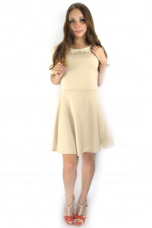 Бежевое платье FAQ FASHION с кружевным воротником