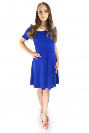 Синее повседневное платье FAQ FASHION с кружевным воротником