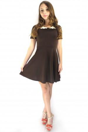 Коричневое повседневное платье FAQ FASHION с кружевным воротником