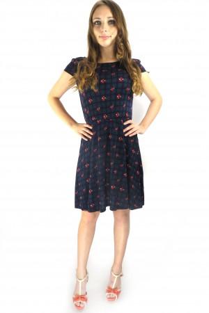 Темное синее платье Springfield в клеточку с ягодным рисунком