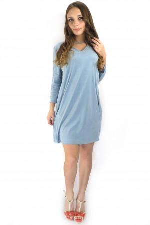 Короткое голубое свободное платье RINASCIMENTO