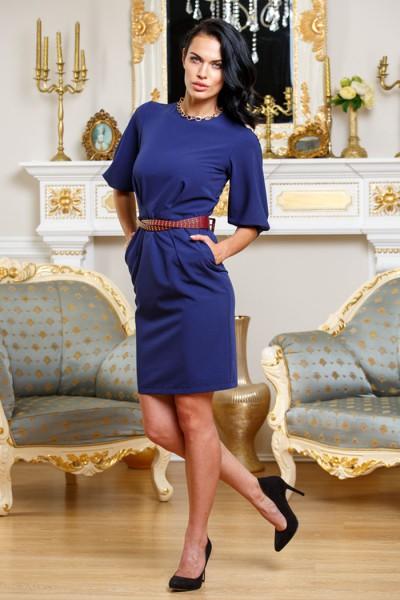 Темно-синее офисное платье Angela Ricci с карманами